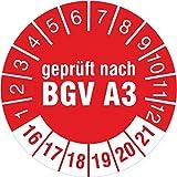 100 Stück Geprüft nach BGV A3 rot 2016-2021 Prüfplakette 30 mm Durchmesser Prüfetikett Prüfaufkleber Prüfsiegel selbstklebend
