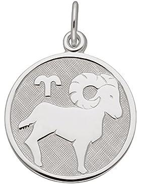 Silber 925 Sterling Silver Sternzeichen Anhänger - Widder - Ø 15,7 mm