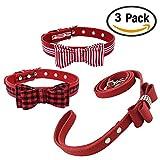 Newtensina Mode 3 Stück Fliege Hundehalsband und Leine Set Niedlich Streifen Fliege Hundehalsband and kariert Welpen Halsbänder mit Fliege Leine für Katzen Hunde