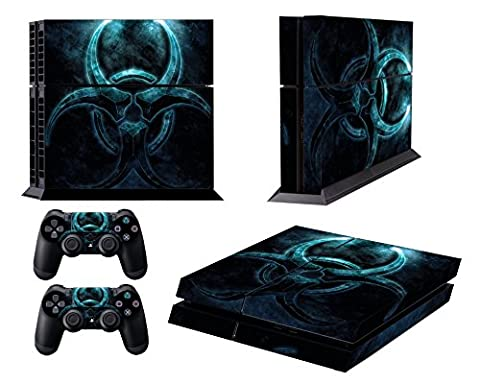 Jeux PS4 Skins Sony PS4 Vinly Decals Playstation 4 Console System plus Two(2) Stickers: Play Station 4 Controller - Blue Ring
