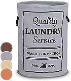 Jago Laundry Bag with Handles 60 l Washing Clothes Bag 100% Cotton Basket Storage Organizer (Grey)