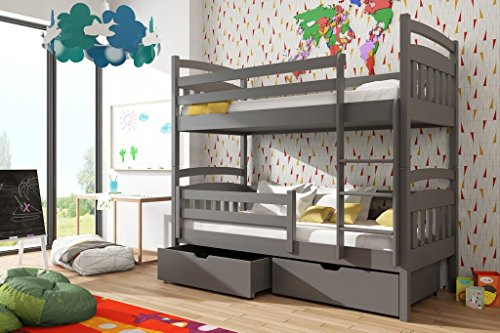 Brand New Wooden Bunk Bed with Storage GABI in Grey Graphite with Mattresses sold by Arthauss (RIGHT)