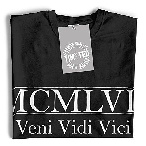 MCMLVII Veni Vidi Vici Geburtsjahr 1957 zum 60. Geburtstag Geschenk-Geschenk-Andenken In der römischen Zahlen aus Langarmshirt Royal Blue