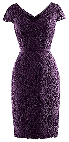 MACloth Women Vintage Short Lace Cap Sleeve Mother of Bride Dress Wedding Party (56, Eggplant)