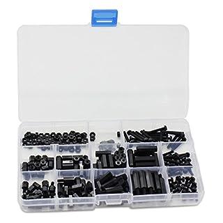 Aussel 260 Stück M3 Nylon Schwarz Hex Spacer Schraubenmutter Standoff Zubehör Sortiment Kit (260 Stücke schwarz M3)