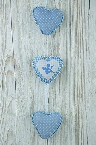 Bleu à suspendre coeurs Chambre d'enfant chérubins Cadeau idéal pour