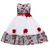 Happy Event Floral Baby Prinzessin Brautjungfer Pageant Kleid Geburtstag Party Hochzeitskleid (Wein, 12-24 Months-100)