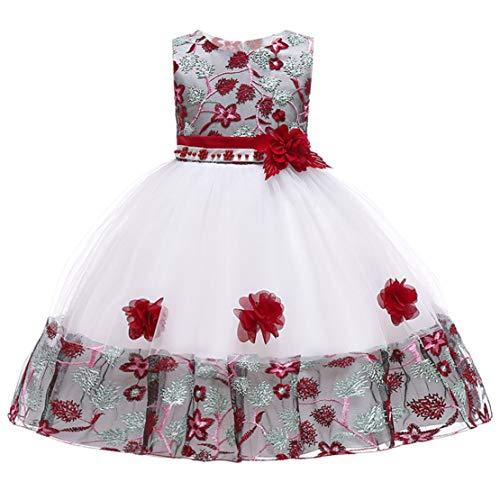 Happy Event Floral Baby Prinzessin Brautjungfer Pageant Kleid Geburtstag Party Hochzeitskleid (Wein, 2-3 Year-110)