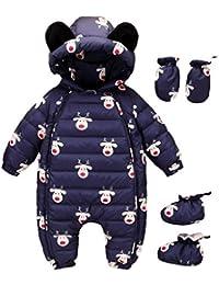 Evedaily Baby Mädchen Jungen Schneeanzug Winterjacke warme Steppjacke mit Kapuze 0-24 Monate