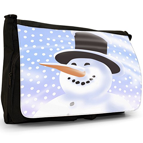 Fancy A Bag Borsa Messenger nero Snowman Wearing Scarf With Snowflake Background Smiling Snowman With Top Hat In Snow