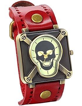 JewelryWe Vintage Herren Damen Armbanduhr, Punk Rock Analog Quarz Uhr mit Quadrat Totenkopf Schädel Zifferblat...