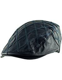 182b8e68429 Itzu Men s Quilted Diagonal Check Flat Cap Hat Faux Leather Cabbie Newsboy  Golf Gatsby Lined