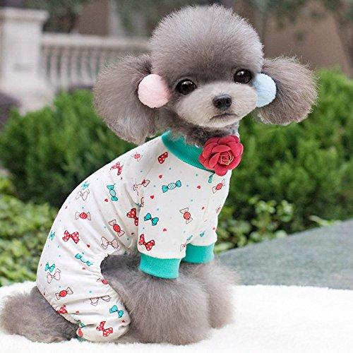 Tägliche E Dog Kostüm Mail - Coconute Cute Pet Puppy Dog Pyjama aus Reiner und frischer Baumwolle Teddy Dog Soft Homewear Pyjamas Haustier T-Shirt Hundekleidung Hemd Haustier-Kleidung Bekleidung Katze Haustier(Green,S)