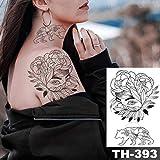Linea di Adesivi per Tatuaggio al Seno temporaneo Impermeabile 3 Pezzi Rosa peonia Tatuaggio Finto Arte per Donne 15-TH393 21X14,8 cm