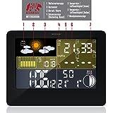 CSL – Funk Wetterstation mit Farbdisplay | inkl. Außensensor | DCF Empfangssignal/Funkuhr | Innen- und Außentemperatur/Wettervorhersage-Piktogramm UVM. | LCD-Display - 3