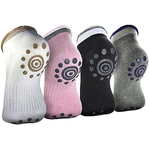 4 pares de calcetines de yoga no resbalón del resbalón de invierno con silicona Dot apretones de algodón calcetines calcetines calcetines de las mujeres del ballet de Pilates