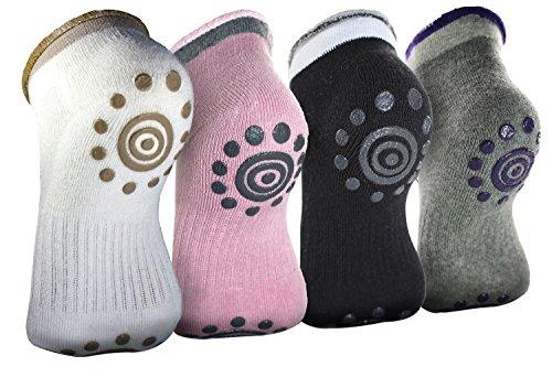 BigNoseDeer 3 Paar Winter-Frauen Anti-Rutsch-Grip Workout Yoga Socken Toe Socken mischen Farbe Socken Baumwollsocken (4 Paare)