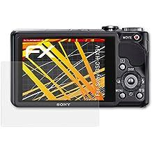 Sony DSC-HX9V Displayschutzfolie - 3 x atFoliX FX-Antireflex-HD hochauflösende entspiegelnde Schutzfolie Folie