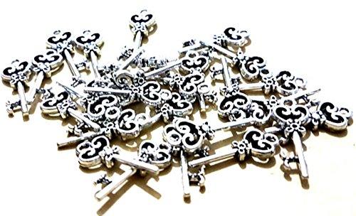dojore 20x Silber Schlüssel Form Herz Charms. 21mm x 7mm Einzigartige Schmuck Anhänger für Armband & Ohrringe. DIY Craft Vintage ()