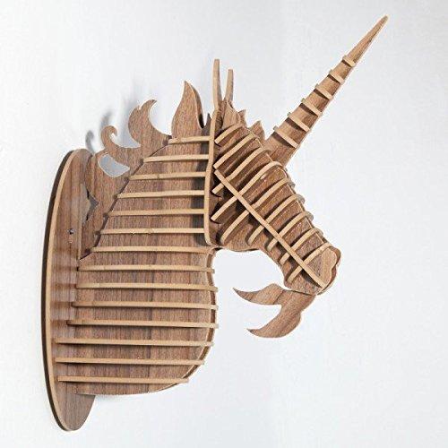 Grande Licorne en bois 3d Tête d'animal. Bois simili Taxidermie, tête de cerf