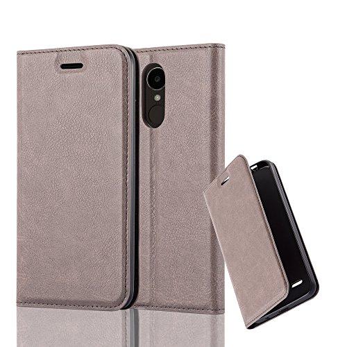 Cadorabo Hülle für LG K4 2017 - Hülle in Kaffee BRAUN – Handyhülle mit Magnetverschluss, Standfunktion und Kartenfach - Case Cover Schutzhülle Etui Tasche Book Klapp Style