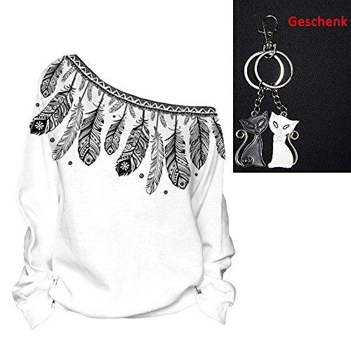 Frauen-Damen Anker weg von der Schulter Maxi-Slouchy Sweatshirt Pullover Tops Blusen (Feather B)