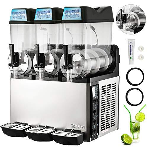 HuSuper 3x12L Kommerziell Slusheis Maschine 900W Frozen Drink Slush Maker Slushy Slushy Juice 3 Zylinder für den Saft Tee Kaffee