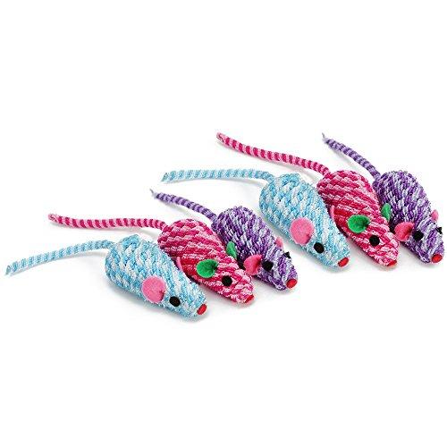 com-four® 6 Katzen-Spielzeugmaus, Katzenspielzeug Stoffmaus, 18 cm (06 Stück)