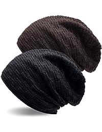 889ef67a61f UPhitnis Warme Feinstrick Beanie Mütze mit Flecht Muster und Sehr Weichem  Fleece Innenfutter Wintermütze für…