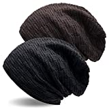 UPhitnis Long Beanie Mütze für Herren Damen - Unisex Warme Slouch Wintermütze in Feinstrick mit Fleece Innenfutter