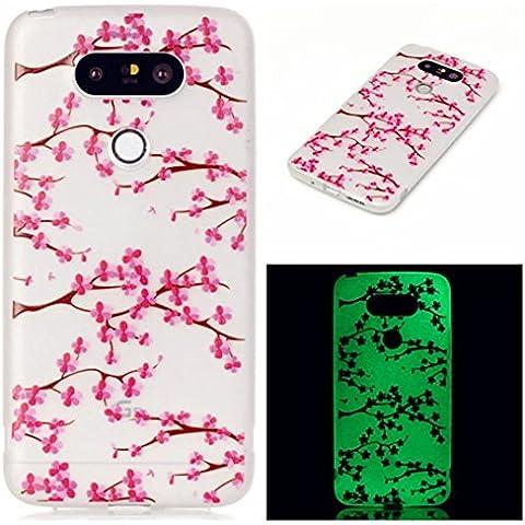 TKSHOP accessori luminosi per Case Cover LG G5 Custodie trasparente morbida TPU gel del silicone Glow Night Guscio nottilucenti flessibile Guaina paraurti pelle resistente ai graffi - Rosa Plum