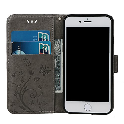 """Hülle für iPhone 7/8, xhorizon Blumenschmetterling magnetische umklappbare Brieftasche Schutzhülle mit Standfunktion und Kartensteckplätzen aus geprägtem PU-Leder für iPhone 7 / iPhone 8[4.7""""] Grau + Stylus + Staubstecker"""