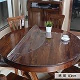 Transparent PVC Table Protection Nappe, Plastique Vinyle Lavable Circulaire Imperméable à Manger Nappe de Table, Bureau Mat Coussin Circulaire-Transparent 1.0mm diamètre 120cm