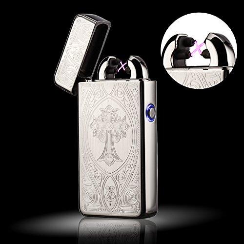 Elektronisches Feuerzeug von Outry, Lichtbogen Feuerzeug mit USB umweltfreundlich, windfest, elegant und schnell wieder aufladbar (Relief)
