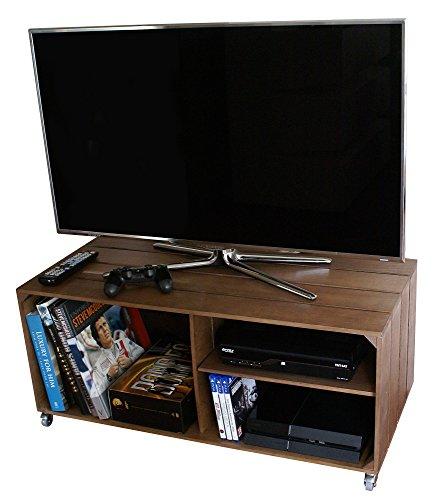 LIZA LINE MESA DE MADERA, Mueble TV con 3 Compartimentos y Ruedas Giratorias. Mueble Televisor de Pino Nórdico Macizo, Estilo Cajas Vintage con Estantes - 90 x 40 x 42 cm (Marrón Nogal)