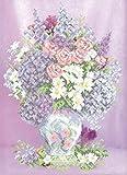 HomeHobbyArt Stickbild mit Perlen komplette Stickpackung Blumen Morgenfrische 30x40 Stickset Stickerei Set Handarbeit St