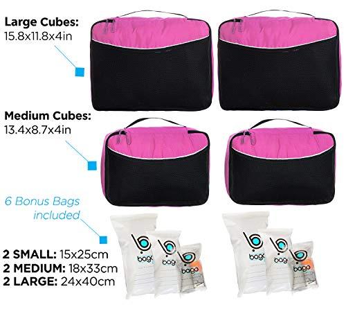 Luggage Packing Cubes 4pcs Value Set - Plus 6pcs Travel Ziplock Bags - Pink