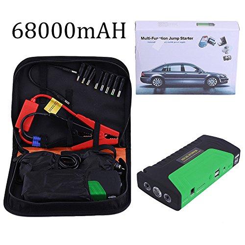 68000ma multifunktionale tragbare Autos Auto Notstart Auto Starthilfe Power Bank mit DREI Lichter Engine Booster - grün
