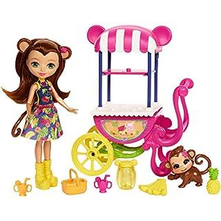 Enchantimals Mattel FCG93 - Puppe Merit Monkey und Obst-Stand