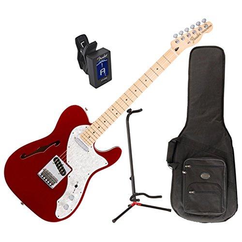 Fender Deluxe Telecaster Thinline Elektrische Gitarre (Candy Apple Red) W/Deluxe Gigbag, Ständer, und Tuner