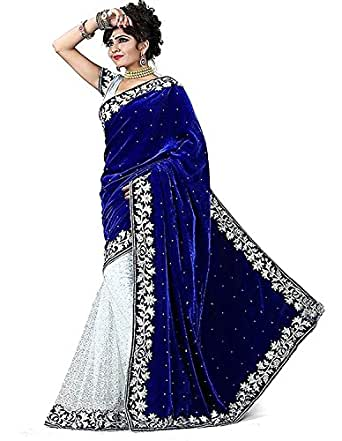 Yeoja Creation Women's Velvet & Net Saree(Blue ,Free Size)