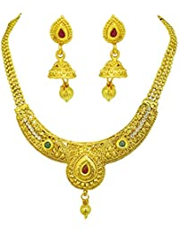 Surat Diamonds Ethnic Colored Stone And Gold Plated Necklace & Earring Fashion Jewellery Set For Women (PS524)