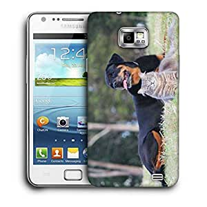 Snoogg Dag And Cat Printed Protective Phone Back Case Cover For Samsung Galaxy S2 / S II
