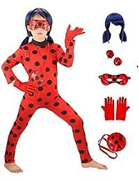 GREAHWD Ladybug Perruque Déguisement Fille Coccinelle Marinette Combinaison Masque Sac Bodysuit Perruque Cosplay Costume de Carnaval 3-10 Ans Halloween Noël Fête Cadeau (Ladybug et Perruques, M)