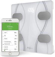 Körperfettwaage, Anjou Bluetooth Personenwaage, Digitale Gewichtswaage mit iOS und Android App für Körpergewicht/Fett/Wasser/BMI/BMR/Muskelmasse