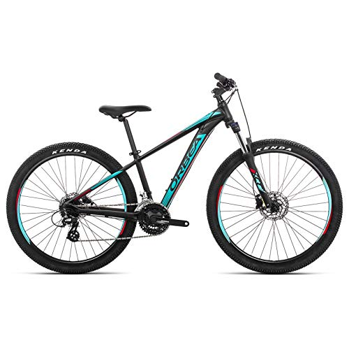 ORBEA MX 27 50 XS Jugend Fahrrad 24 Gang 27,5 Zoll Kinder MTB Rad Scheibenbremse Mountain Bike Alu, J02614R, Farbe Schwarz Türkis