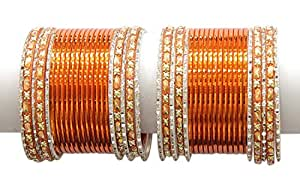 Muchmore Orange Metal Pack Of 44 Bangle Set For Women