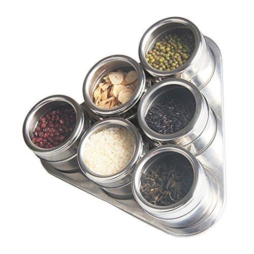 6 Piece Spice Jars Magnétique en Acier Inoxydable Condiment Pot avec Tréteau et Rotating Transparent Couvercle par Xuanlan (Forme Ronde, Argent)