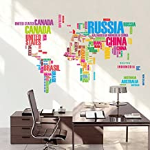 QHGstore Mappa del mondo Lettera Citazione adesivi