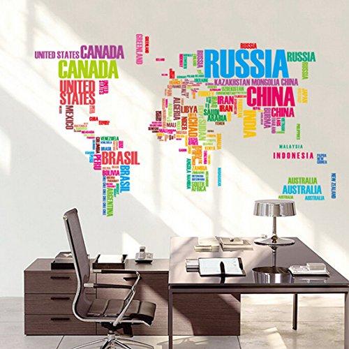 QHGstore Mappa del mondo Lettera Citazione adesivi rimovibili murale di arte della parete del